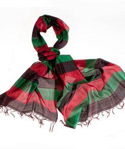 Varanasi Silk Scarf - 55x180cm - Stripey - Brown Green Red