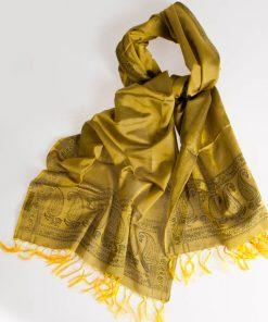 Varanasi Silk Scarf - 55x180cm - Jacquard - Yellow / Black