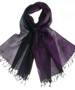 Varanasi Silk Scarf - 55x180cm - Reversible - Purple / Black