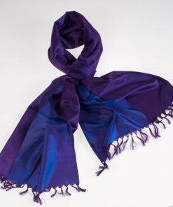 Varanasi Silk Scarf - 55x180cm - Reversible - Light Purple / Dark Purple