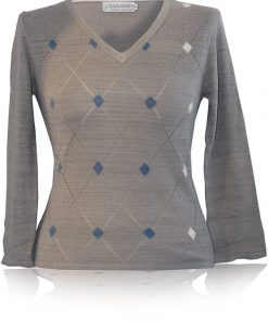 Ladies Argylev-Neck - 80% Bamboo/20% Cashmere - Grey all Vegetable Dyes - Extra Large