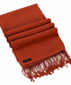 Pashminasjal - 90x200cm - 70% Cashmere / 30% Silke - Barn Red