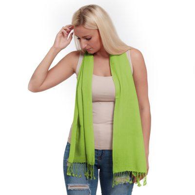 Pashmina Scarf - 30x150cm - 100% Cashmere - Lime Green